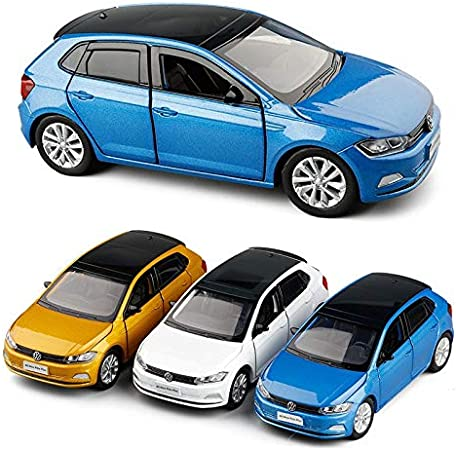 Couleur : Yellow JINSUO GWTRY 01:32 Volkswagen Polo VW Pusl Hatchback mod/èle de Voiture en Alliage Diecast Toy Enfants Cadeau Son Lumi/ère Mini Car Collection