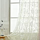 Aside Bside Lodge Style Permeable Window Decoration Sheer Curtains Peach Floral Jacquard Rod Pocket Top Sitting Room Houseroom Kitchen (1 Panel, W 52 x L 63 inch, White)