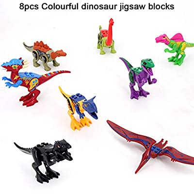 Dinosaur Mini Figures, 16pcs Multicolor/Dino Building Blocks, Dinosaurs Figures, Dinos Toy, Buildable Dinosaur Building Blocks Figures With Movable Jaws, Dinosaur Toys for 6 Year Old up Kids Boys and: Toys & Games