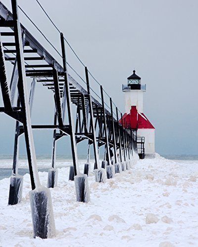 (Lighthouse photography, St. Joseph print, Michigan winter art, photo paper or canvas picture, 5x7 to 30x45