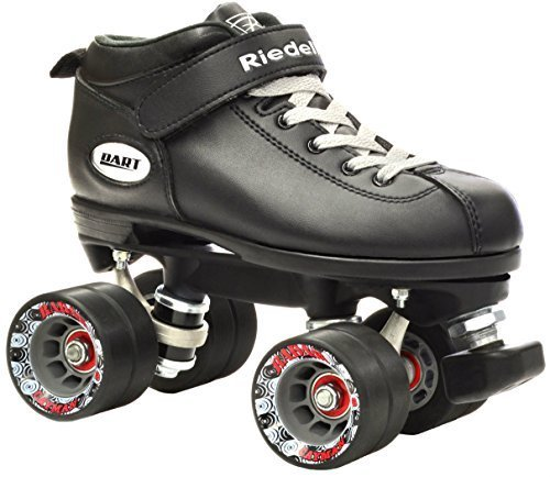 Vii Leather Dart - Riedell Dart Vader Quad Roller Derby Speed Skate w/ 2 Pair of Laces (Gray & Black) (Mens 6 / Ladies 7)