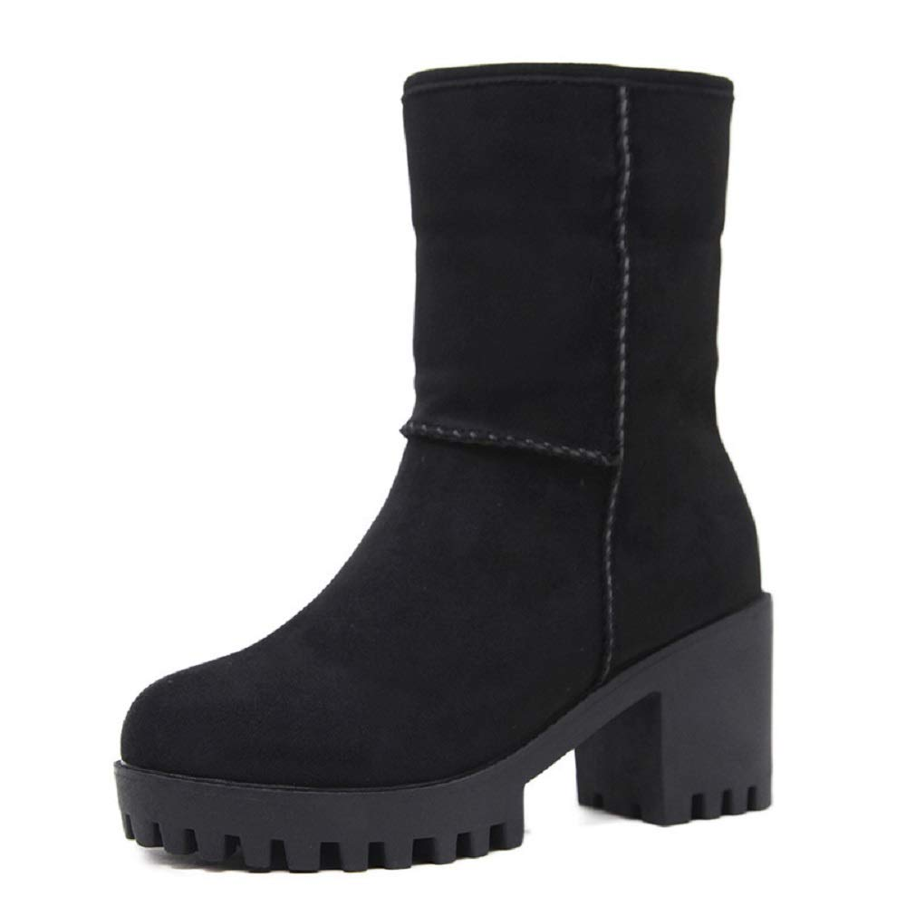 Gaslinyuan Damen Stiefel Ankle Stiefel Damen Block Fell gefüttert Chelsea Slip on Schuhe (Farbe   Schwarz, Größe   EU 36) 8a81f8