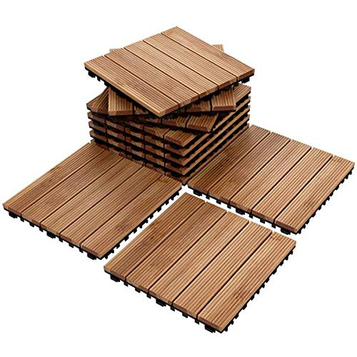 Yaheetech Deck Tiles Patio Pavers Interlocking Wood Composite Decking Flooring Deck Tiles 12 x 12''Fir Wood Indoor Outdoor Applications Stripe Pattern, Natural Wood (44)