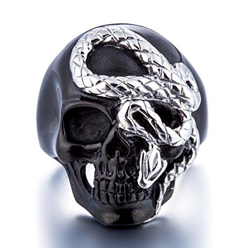 Coostuff Black Skull Snake Vintage Rock Punk Men Jewelry Stainless Steel Rings for Men