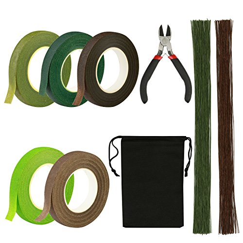 LANMOK Floral Arrangement Kits 5pcs 26# Floral Tapes Stem Wrap Flexible Floral Stem Wire With Garden Wire Cutter For Flower Arrangement Stem-wrapping Bouquets Corsages