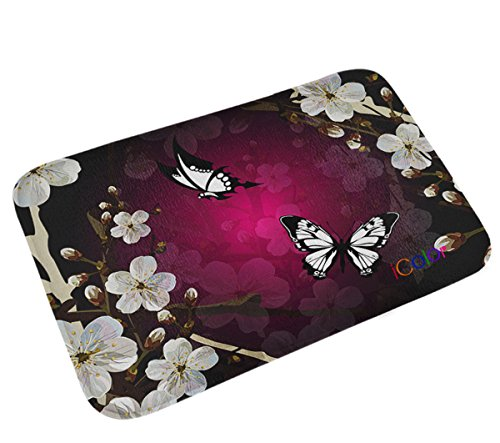 iColor Carpets Floor Mat/Cover Floor Rug Indoor/Outdoor Area Rugs,Washable Garden Office Door Mat,Kitchen Dining Living Hallway Bathroom Pet Entry Rugs with Non Slip Backing (Black & white (Butterfly Pets)