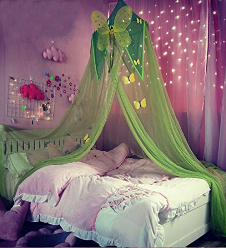 Mengersi Bed Canopy Curtain Mosquito Net Play Tent Butterfly Pattern for Girls Boys Kids Children Playing Reading Games House Twin to King Size (Green)