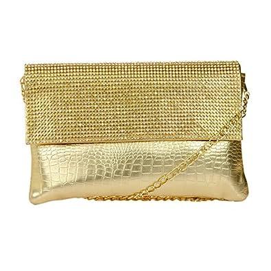 64255627b0a Designer Fancy Gold Colour Synthetic Fabric Stylish Clutch Purse ...