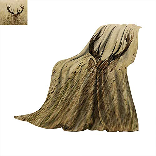 Antler Decor Super Soft Thicken Blanket Whitetail Deer Fawn in Wilderness Stag Countryside Rural Hunting Theme Oversized Travel Throw Cover Blanket 62 x 60 inch Brown Sand Brown -