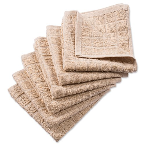 DII Cotton Terry Windowpane Dish Cloths, 12 x 12 Set of 6, Machine Washable and Ultra Absorbent Kitchen Bar Towels-Solid Pebble