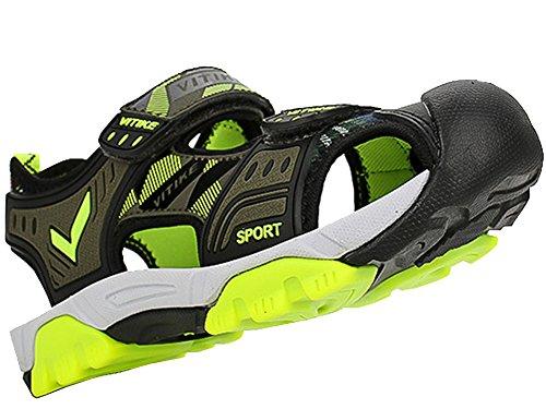 VECJUNIA Boys Adventurous Closed Toe Hook-and-Loop Sport Sandals Olive 5 M US Big Kid by VECJUNIA (Image #3)