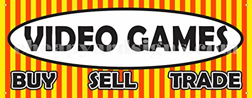 """36""""x96"""" Video Games Banner Retail Buy Sell Trade Business Store Sign"""