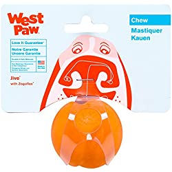 West Paw Zogoflex Jive Durable Nearly Indestructible Dog Ball Chew-Fetch-Play Dog Toy, 100% Guaranteed Tough, It Floats!, Made in USA, Mini 2-Inch, Tangerine