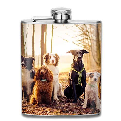 (Animal Dog Border Collie Terrier Australian Shepherd Poodle German Liquor Hip flask Stainless Steel Shot flasks Leak Proof Cool Gift For Men 7oz )