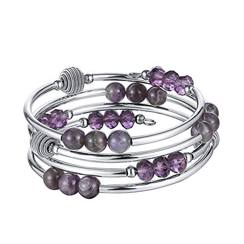 (Layered Wrap Beaded Crystal Bracelet - Fashion Jewelry Agate Bracelet Birthday Gifts for Women (Purple))