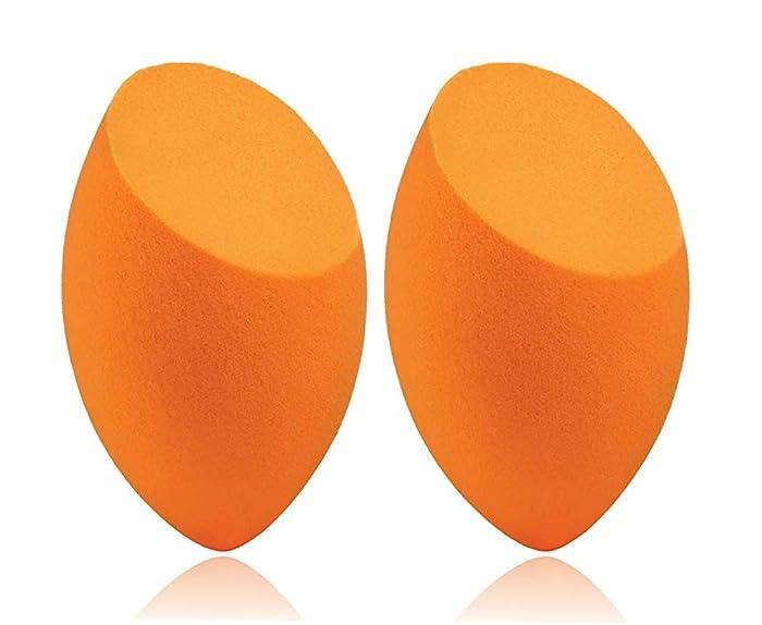 Beauty Flawless Makeup Blender Comestic Special Egg Shape Sponge Puff Color Orange-2 Piece