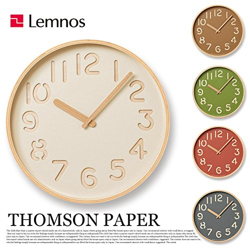 掛け時計 トムソンペーパー THOMSON PAPER NY16-09 レムノス Lemnos ベージュ ブラウン グリーン グレー レッド ウォールクロック レッド B0793KDF5K レッド レッド