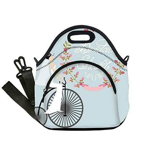 Insulated Lunch Bag,Neoprene Lunch Tote Bags,Bridal Shower Decorations,Bride in Wedding Dress with Bicycle Flowers,Charcoal Grey and Baby Blue,for Adults and -
