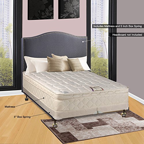 Spinal Solution, 10-Inch Plush Medium Eurotop Pillowtop Innerspring Mattress And 4-Inch Split Wood Traditional Box Spring/Foundation Set, Good For The Back, No Assembly Required, Full Size 74