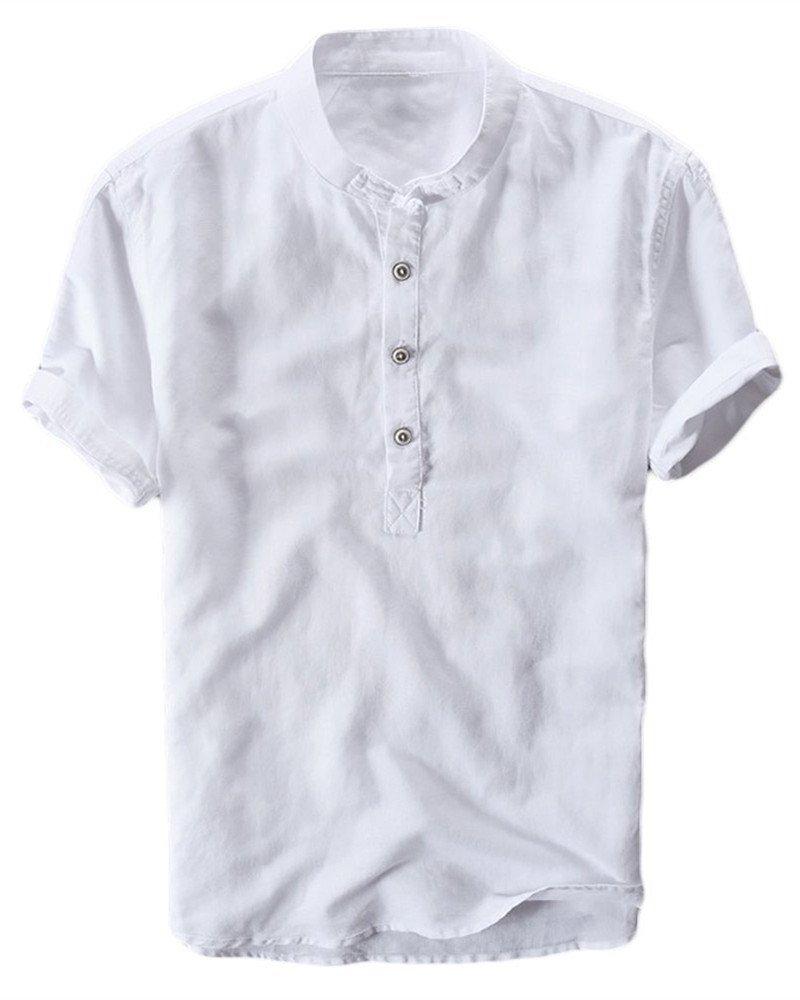 Mens Henley Shirts Linen Cotton Summer Casual Short Sleeve T-Shirts Tops