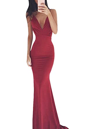 MuNiSa Womens Sexy Spaghetti Strap V Neck Backless Mermaid Evening Prom Dress(S,Burgundy