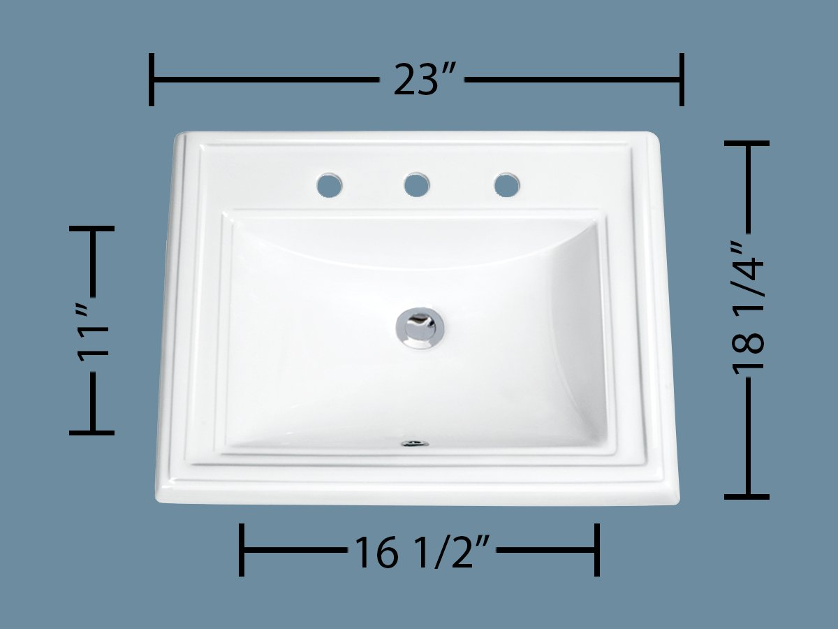 MSCBDP-2318-3W 23'' x 18-1/4'' White Rectangular Porcelain Drop-In Top Mount Bathroom Sink by Magnus Sinks (Image #2)