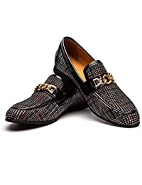Men's Leather Shoes Pattern Printing Men's Dress Loafer Shoes Slip-on Casual Loafer Smoking Slipper