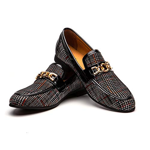 JITAI Men's Leather Shoes Pattern Printing Men's Dress Loafer Shoes Slip-on Casual Loafer Smoking Slipper (11 D (M) us, BLACK-01)