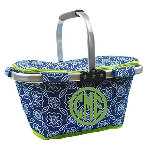 Personalized Monogrammed Collapsible Insulated Picnic Basket Market Tote - Blue and White Lattice ()