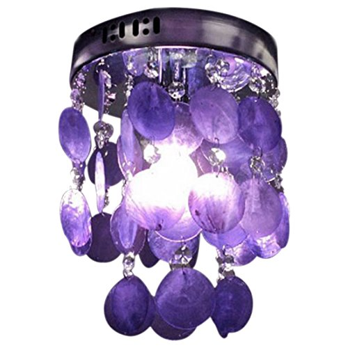 Bedroom Chandelier - SODIAL(R) Child Bedroom Purple Crystal Shell Pendant Lamp Chandelier Ceiling Fixture light