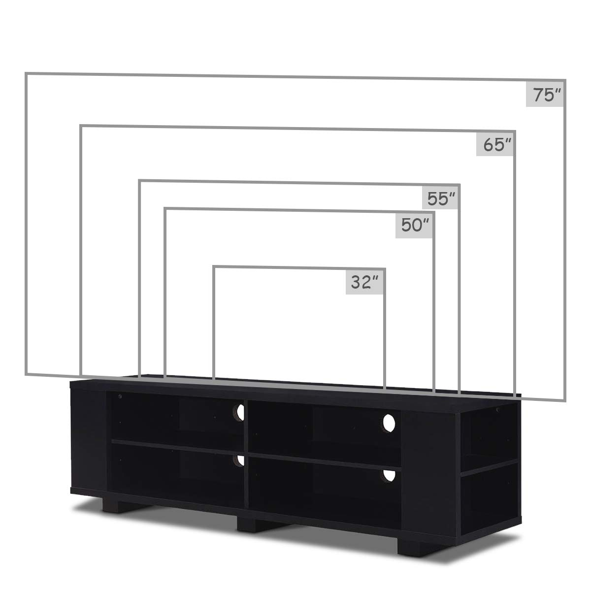 Black Home Living Room Furniture with 8 Open Storage Shelves Tangkula TV Stand Modern Wood Storage Console Entertainment Center for TV up to 59