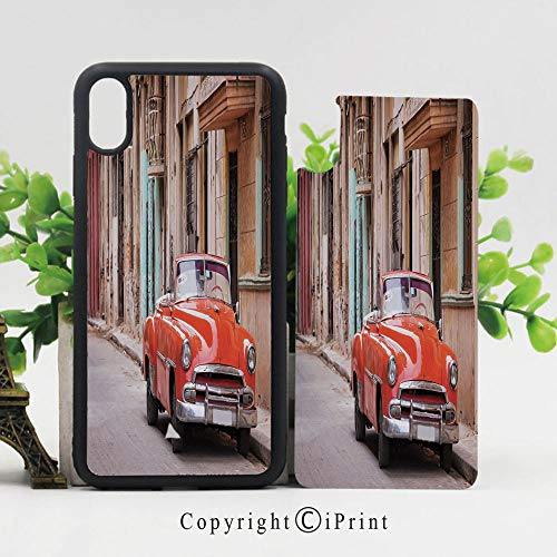 (Case for iPhone X,Classical American Car in a Street with Ancient Houses Caribbeans Havana Cuba Hard Case with TPU Bumper Protective Case Cover,Orange Sand Brown )