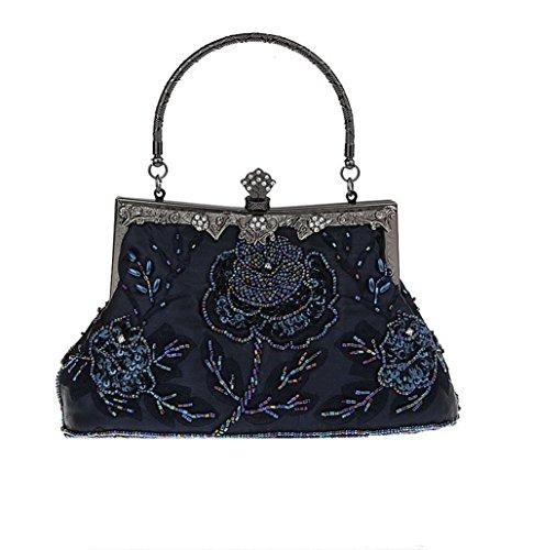 (Bopstyle Women's Sequin Beaded Party Clutch Vintage Rose Purse Evening Handbag (Dark Blue))