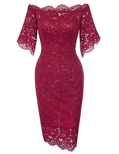 Women's Trendy Slim Waist Lace Bridesmaid Short Bodycon Dress S Wine -