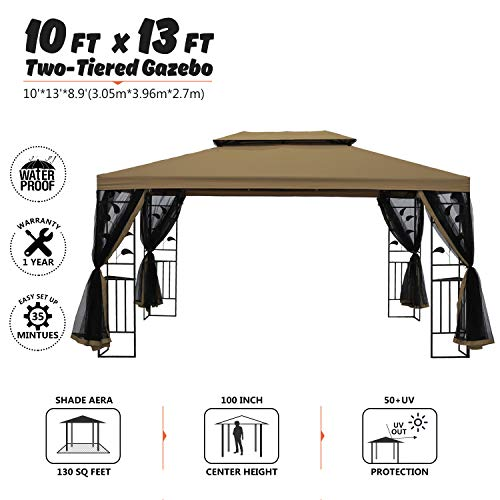 (suna outdoor 10x13 Ft Outdoor Gazebo Steel Frame Two-Tiered Top Canopy, Leaf Screen Decor Gazebo with Adjustable Netting for Garden Backyard, Beige)