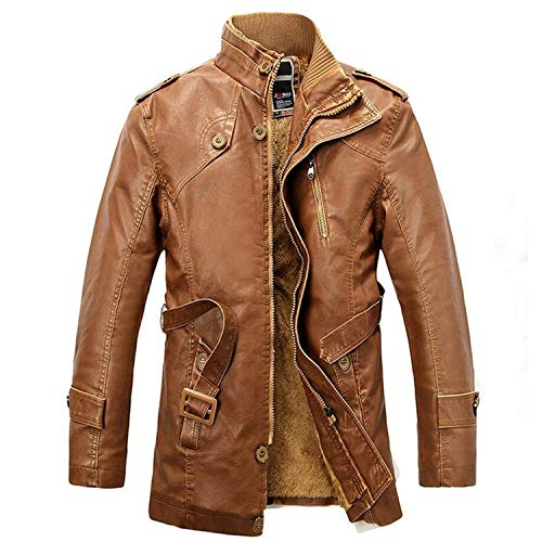 (Motorcycle LeatherLong Trenchcoat Leather De Couro Masculino,Earth Yellow,L)