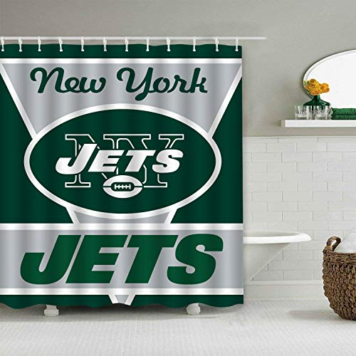Jerrymoaus Custom Colourful Tootball Team New York Jets Shower Curtain Polyester Waterproof and Mildew Proof for Bathroom Decoration Set with Hooks 66x72 ()