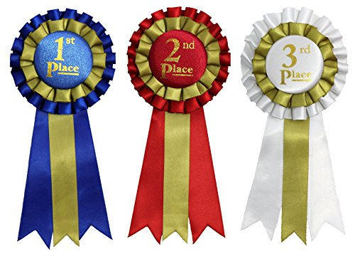 1st, 2nd, 3rd Place Premium Award Ribbons 15 Count Value Bundle - 5 each of Blue, Red & White
