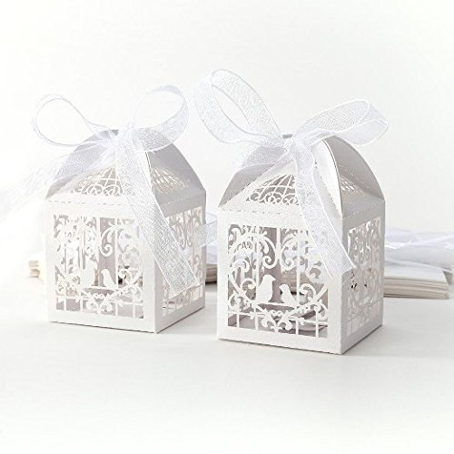 Gospire 50pcs Deluxe Party Wedding Favor Super Gift Laser Cut Pearl Paper Ribbon Candy Boxes Gift Box Bombonera Classical Bird Style (White)