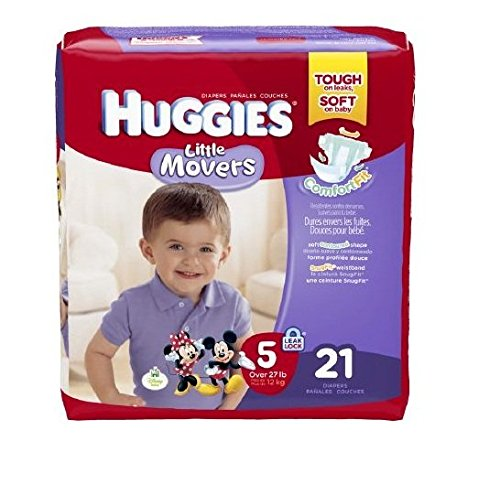 Huggies Little Movers Diapers Jumbo, Size 5, Over 27 lbs, 40798 (Case of 84)