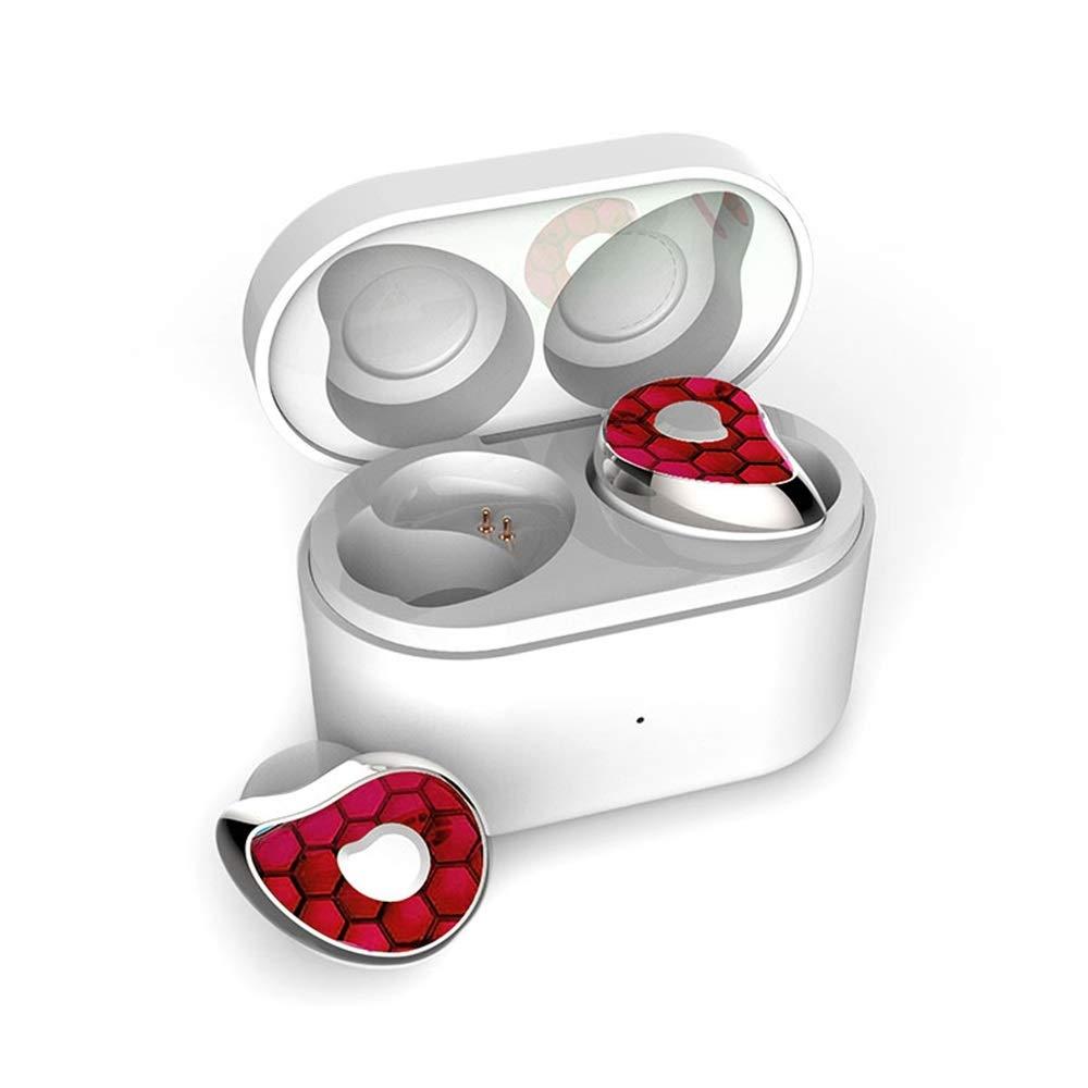 LYgMV ヘッドフォンTWSブルートゥース5.0イヤホンミニハイファイステレオフォンヘッドセットスーパーベースヘッドフォン(充電ボックス付き) (Color : Red) B07Q8RLJKY