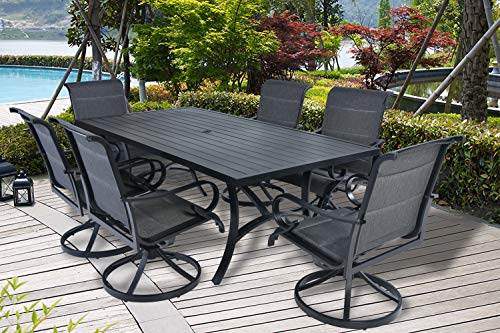 Pebble Lane Living 7pc Slat Top Cast Aluminum Powder-Coated Patio Set with Swivel Rocking Chairs with arms -Black