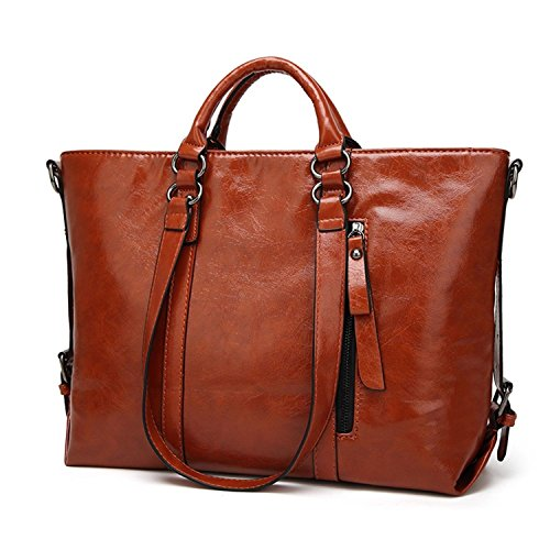 Women PU Leather Waterproof Handbag CrossBody Casual Vintage Shoulder Bag Large Capacity Handbag(Brown) by FANZY