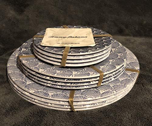 "- Tommy Bahama 100% Melamine 12-Piece Dinnerware, 4- Dinner Plates (11"" Diameter), 4-Salad Plates (9"" Diameter), 4-Appetizer/Dessert/Snack Plates (6"" Diameter) DIFFERENT SHADES OF BLUE SHELLS"