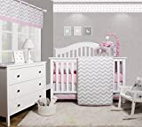 GEENNY OptimaBaby Pink Grey Chevron 6 Piece Baby Girl Nursery Crib Bedding Set