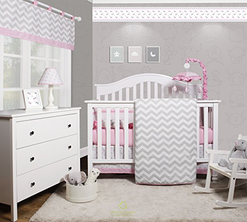 - GEENNY OptimaBaby Pink Grey Chevron 6 Piece Baby Girl Nursery Crib Bedding Set