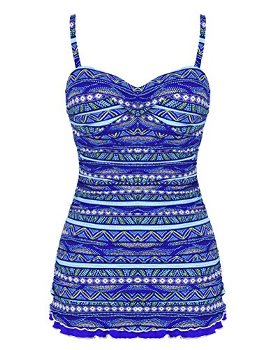 Hilor Women's One Piece Swimsuits Tummy Control Swimwear Ruffle Swimdress with Panty Blue 18 -