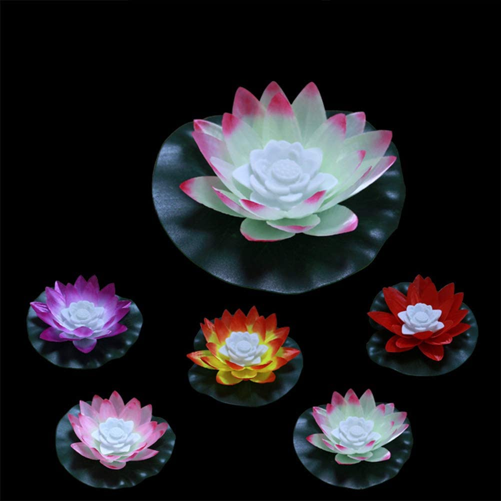 Lotus Flower Wishing Pond Light Orange Uonlytech LED-Schwimmlicht Lotus-Pool-Licht f/ür Swimming Pool Pond