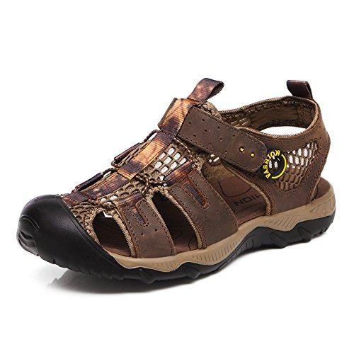 Hellbraun Sandalen Größe Aufgewölbte 40 Schuhe Leder 41 Leder Männer Atmungsaktiv Braun Strand Rinder Zwanglos 39 42 38 43 braun eu41 44 Farbe rqq8WP67