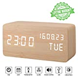Alarm Clock, Wood Alarm Clock Digital Clocks for Bedroom Beside LED Wooden Clock Small Desk Alarm Clock Time Date Week Temperature Thermometer Travel Clock 3 Levels Brightness 3 Alarms Voice Control